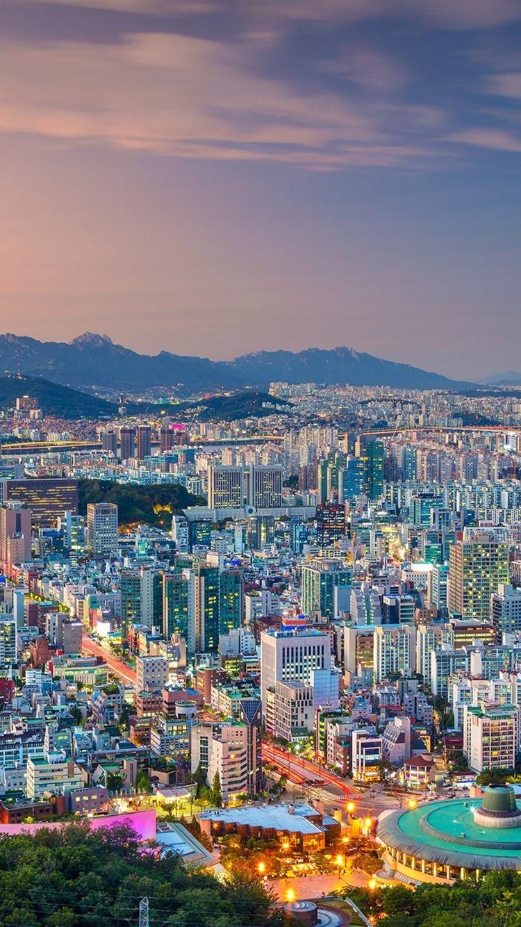 壁紙 韓国 ソウル シティビュー 夕暮れ ライト 1920x1200 Hd 無料
