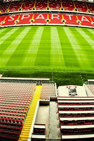 iPhone Wallpaper Spartak Stadium, football, meadow, Moscow, Russia