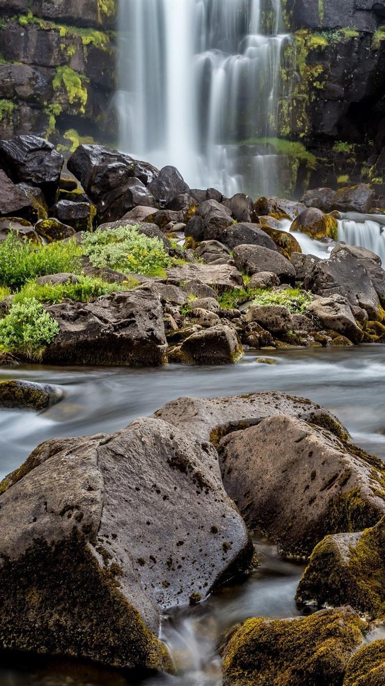 Steine Felsen Wasser Wasserfall 750x1334 Iphone 8 7 6 6s