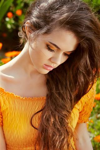 iPhone Wallpaper Summer girl, orange skirt, flowers