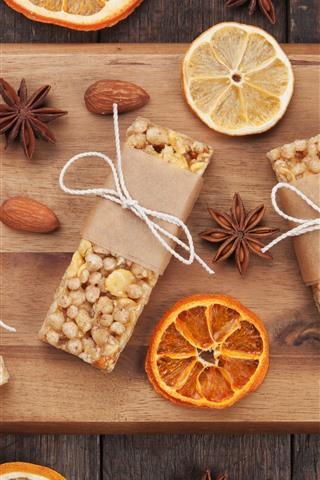 iPhone Hintergrundbilder Süße Kekse, Gewürz, Orangenscheiben, Nüsse