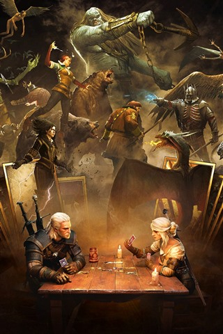iPhone Wallpaper The Witcher 3: Wild Hunt, play cards