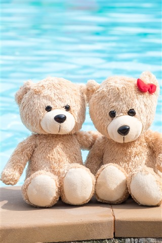 iPhone Wallpaper Two teddy bears, toys, sea