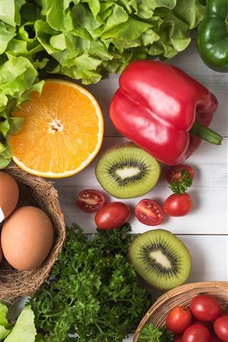 iPhone Wallpaper Vegetables, citrus, peppers, tomatoes, kiwi, eggs, still life