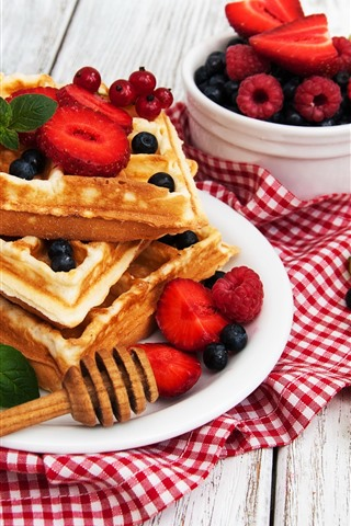 iPhone Wallpaper Waffles, berries, food