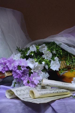 iPhone Wallpaper White and purple flowers, guitar, music score