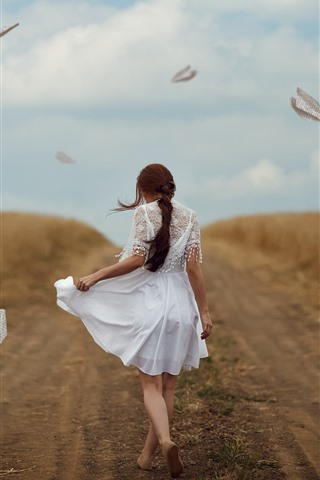 iPhone Wallpaper White skirt girl back view, path, paper planes