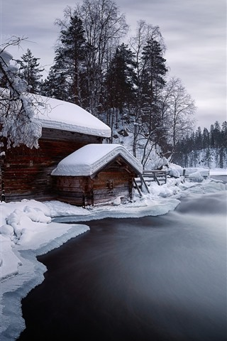 iPhone Wallpaper Winter, snow, river, house, trees