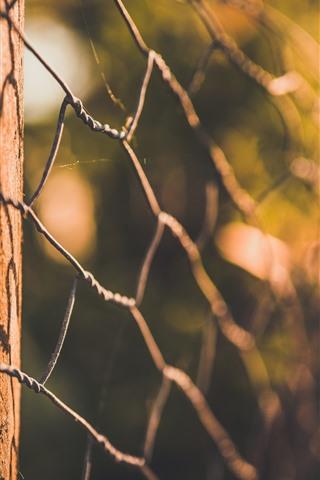 iPhone Wallpaper Wire fence, glare, hazy