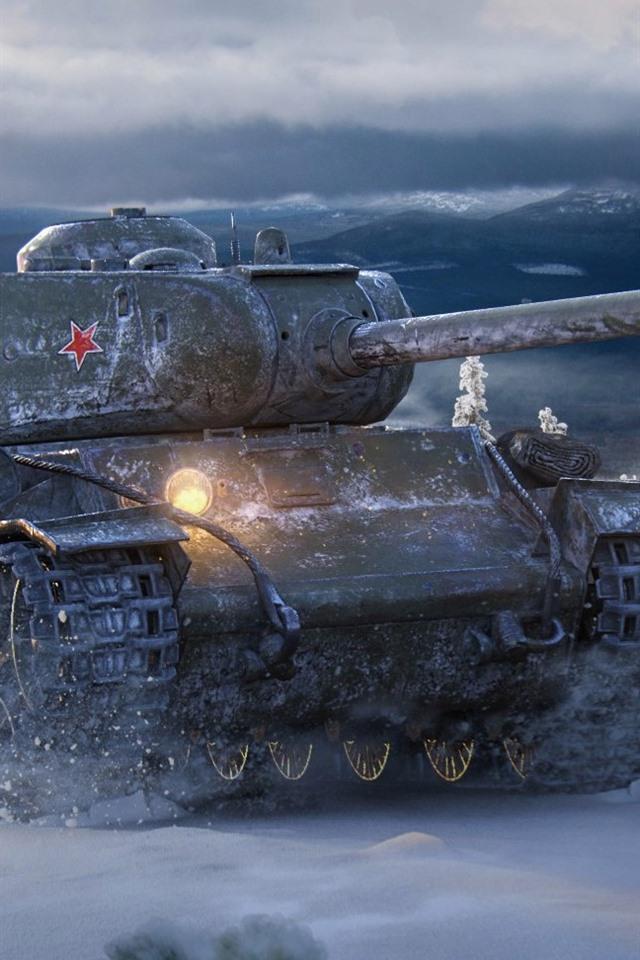 World Of Tanks Soviet Tank Snow Winter 640x960 Iphone 4