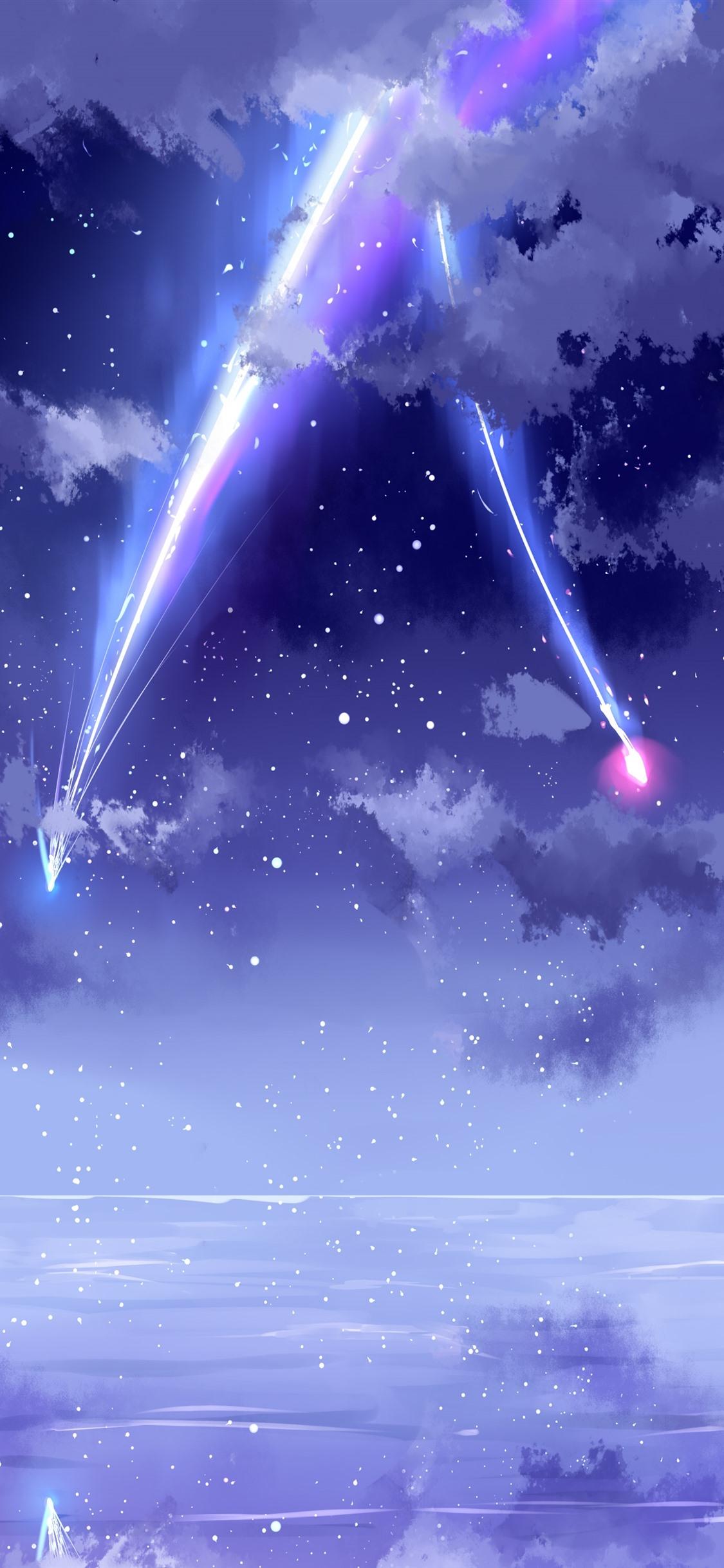 Wallpaper Your Name, beautiful sky, meteor, anime ...