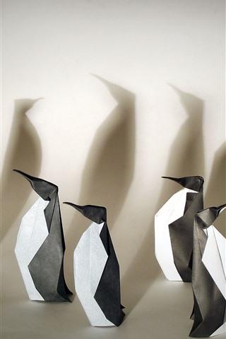 iPhone Wallpaper Art origami, penguins