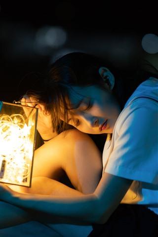 iPhone Wallpaper Asian young girl, lantern, stars light
