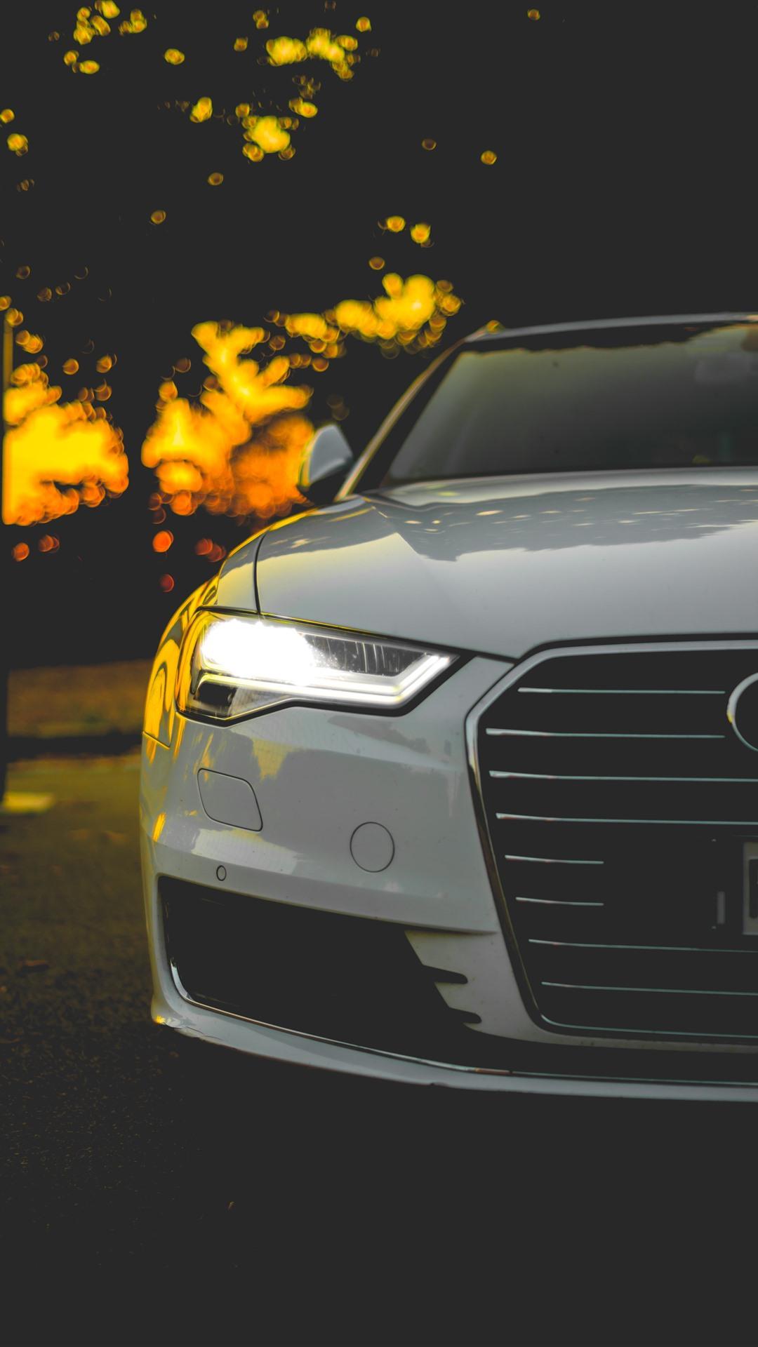壁纸 奥迪白色汽车正面图,车灯 3840x2160 Uhd 4k 高清壁纸 图片 照片