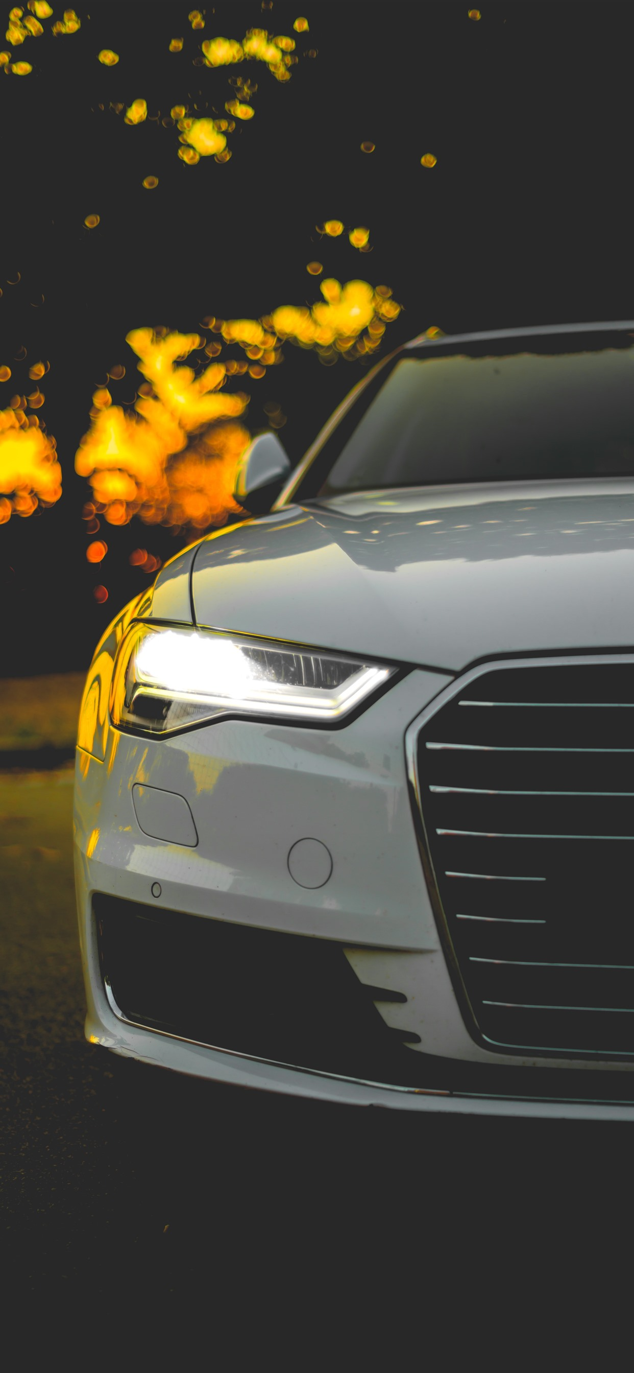 Audi White Car Front View Headlight 1242x2688 Iphone 11 Pro Xs Max Wallpaper Background Picture Image