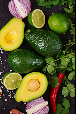iPhone Wallpaper Avocado, lime, onion