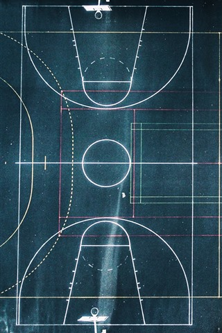 iPhone Wallpaper Basketball ground and football ground, top view