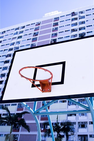 iPhone Wallpaper Basketball net, board, buildings
