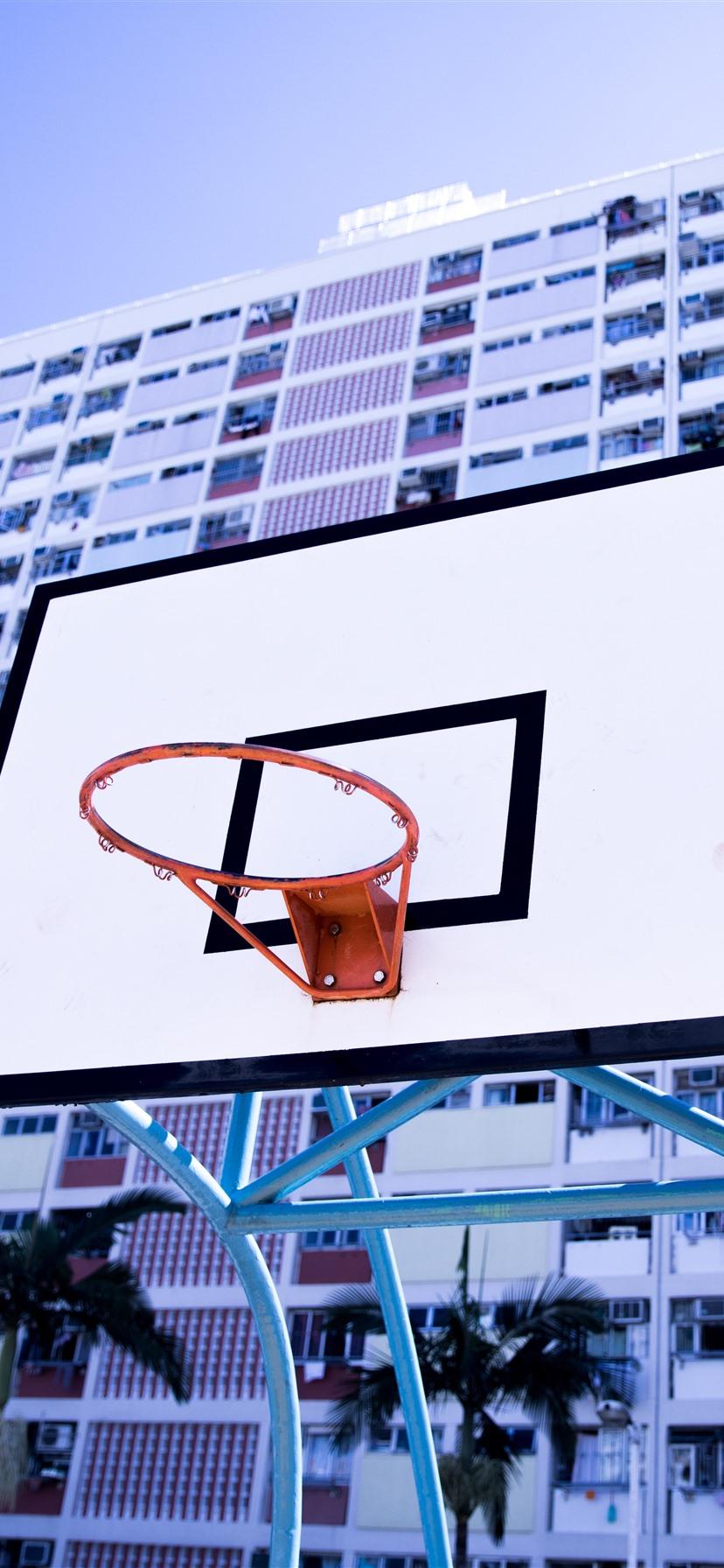 Wallpaper Basketball Net Board Buildings 5120x2880 Uhd