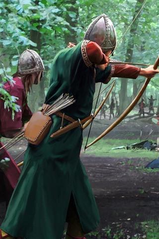 iPhone Papéis de Parede Batalha, guerreiro, arqueiro, escudo, imagens de arte