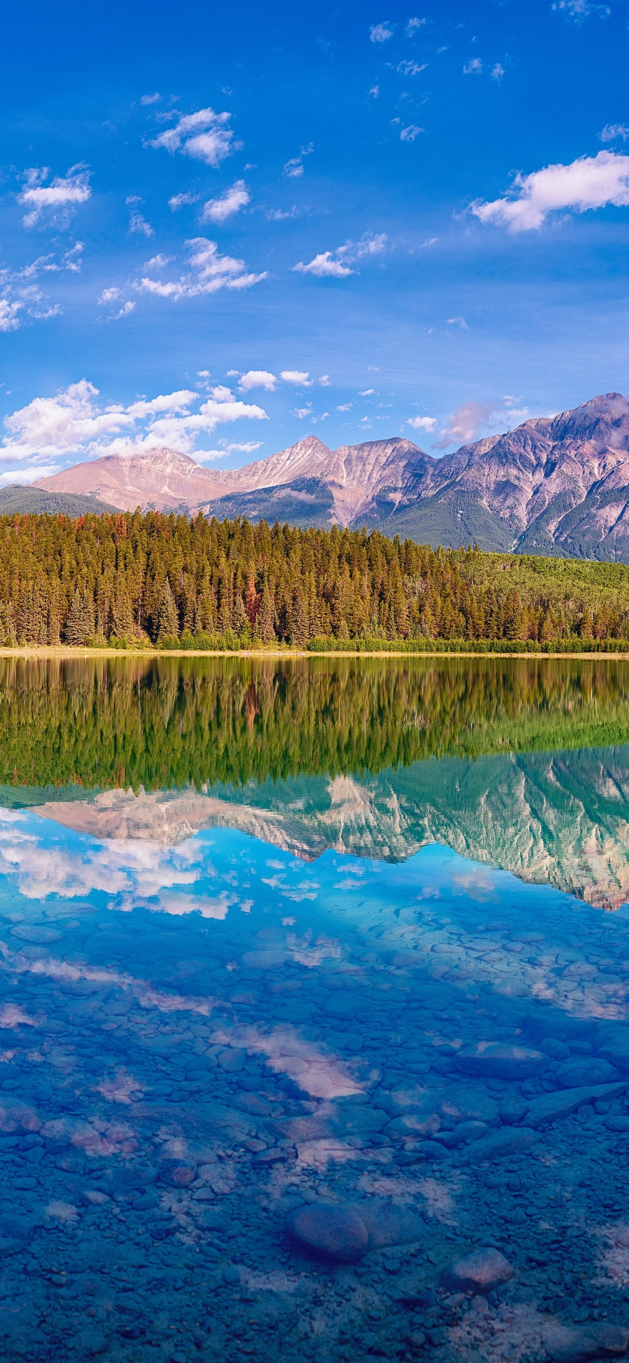 Beautiful Nature Landscape Lake Mountains Trees Water Reflection Canada 1242x2688 Iphone 11 Pro Xs Max Wallpaper Background Picture Image