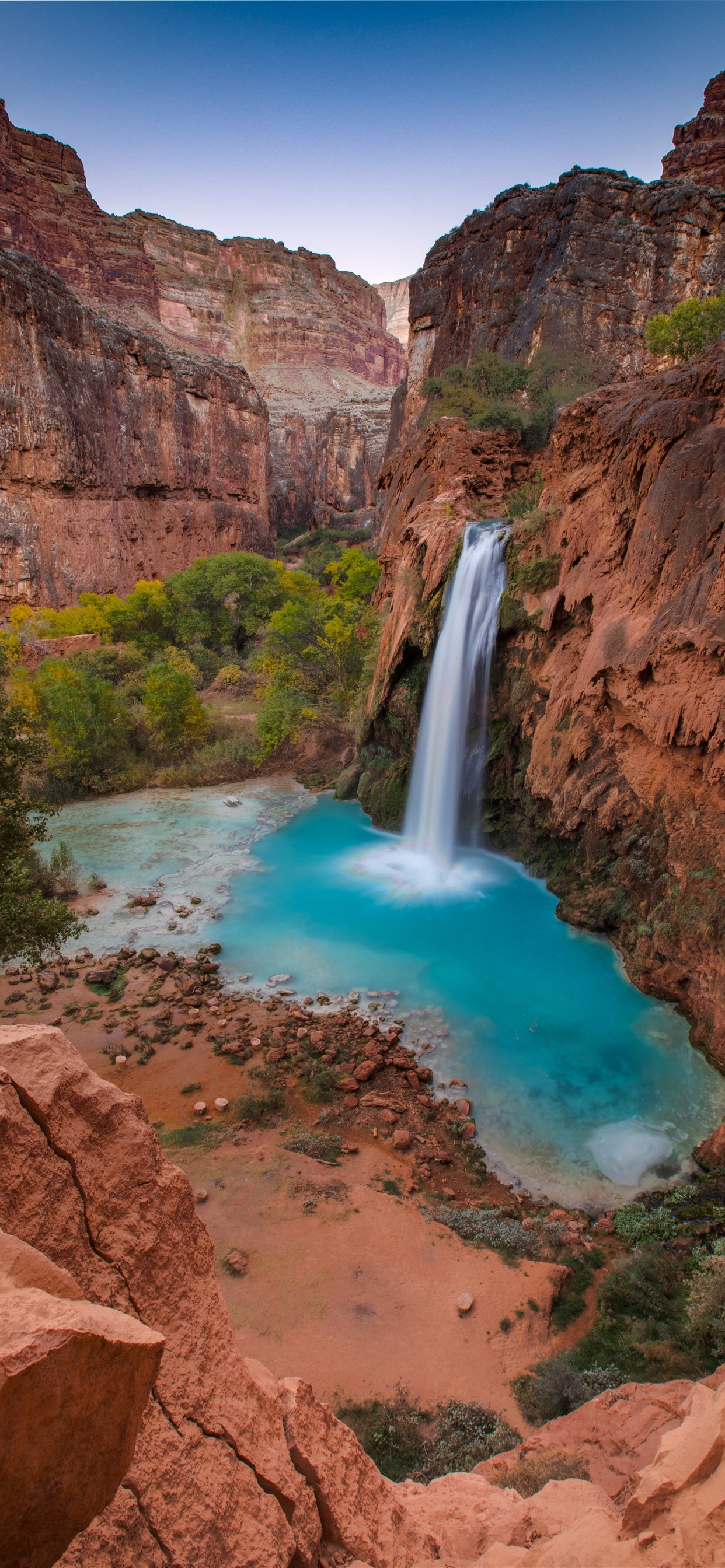 Beautiful Waterfall Pond Rocks Cliff 1242x2688 Iphone Xs Max