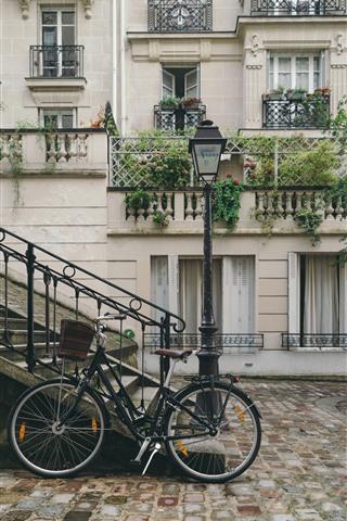 Bike Street Stairs Houses 1242x2688 Iphone Xs Max