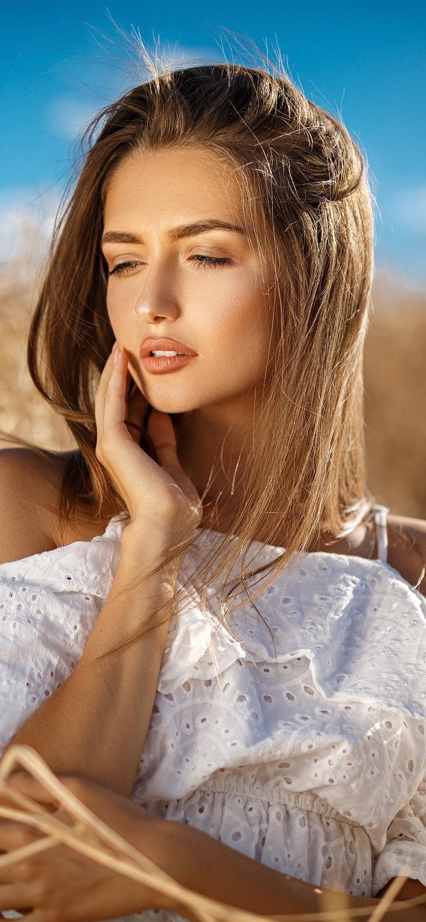 Blonde girl, summer, white skirt 1242x2688 iPhone XS Max