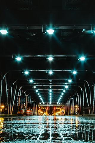 iPhone Wallpaper Bridge, tunnel, lights, wet road, night