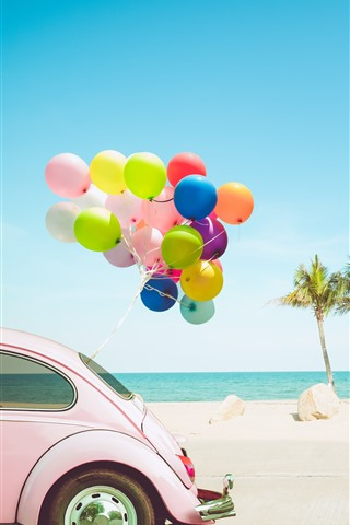 iPhone Wallpaper Car, colorful balloons, palm trees, sea, tropical
