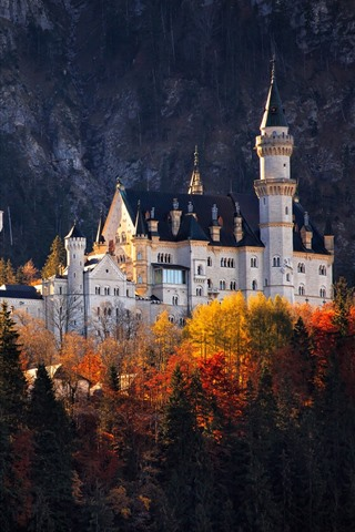 iPhone Wallpaper Castle, trees, autumn, Germany