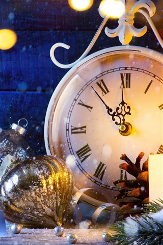 Christmas Ball Snow Clock Light Circles 1242x2688 Iphone