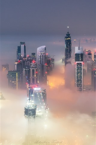 iPhone Wallpaper City, Dubai, UAE, skyscrapers, fog, lights, dusk