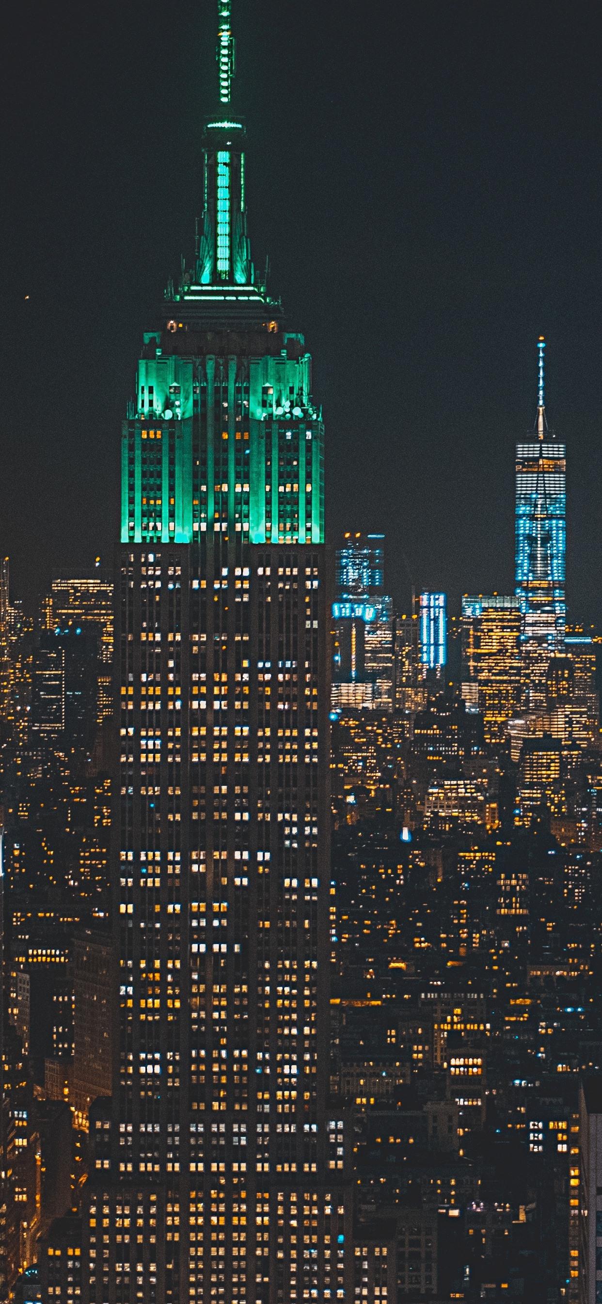 City Night Skyscrapers Buildings Lights 1242x2688 Iphone