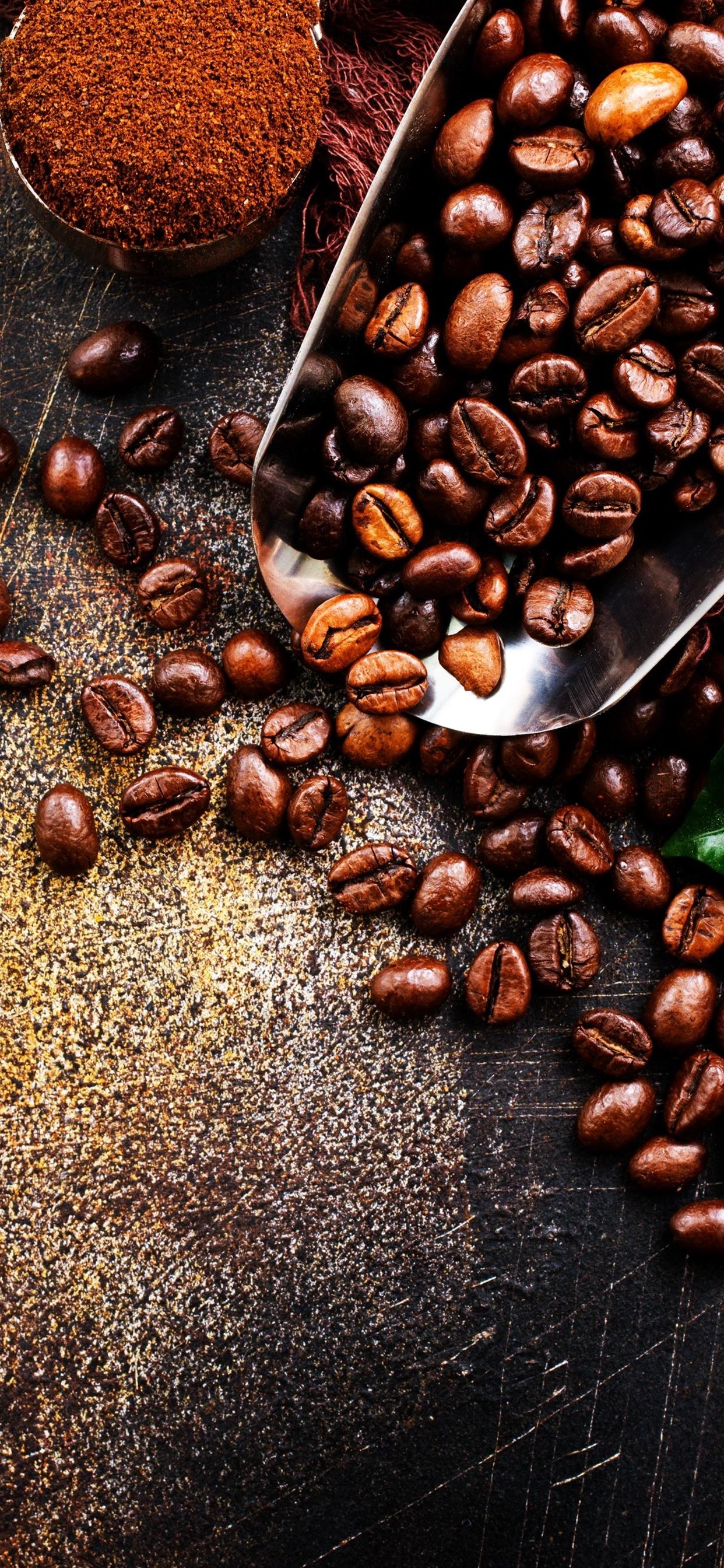 Coffee Beans Green Leaf Powder 1242x2688 Iphone Xs Max