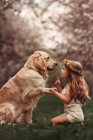 iPhone Wallpaper Cute little girl and dog, wreath, meadow