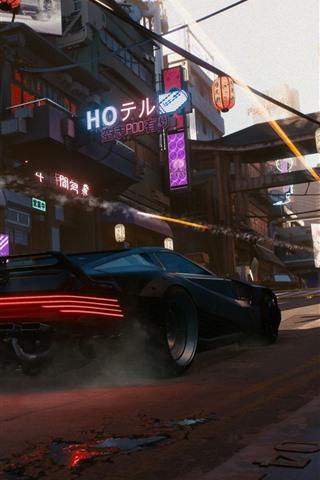 iPhone Wallpaper Cyberpunk 2077, E3 games, city, Japan, car
