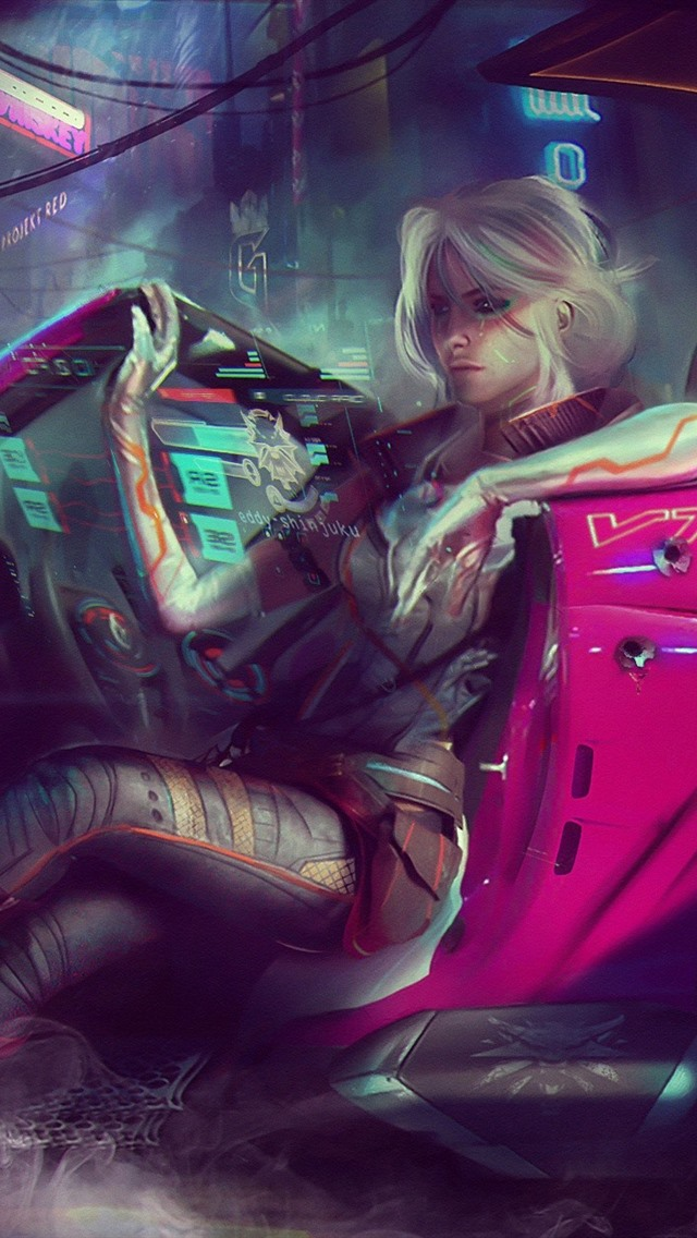 Cyberpunk 2077 Girl Car Art Picture 640x1136 Iphone 5 5s 5c Se
