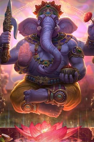 iPhone Wallpaper Elephant, lotus, art picture