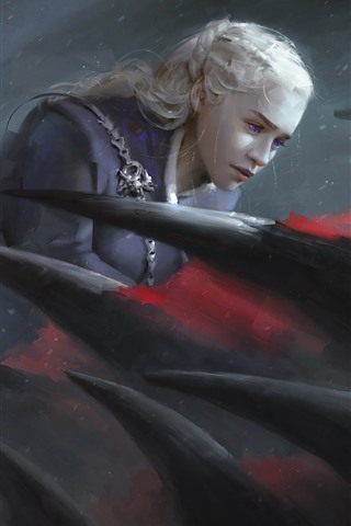 iPhone Wallpaper Emilia Clarke, Game of Thrones, dragon, art picture