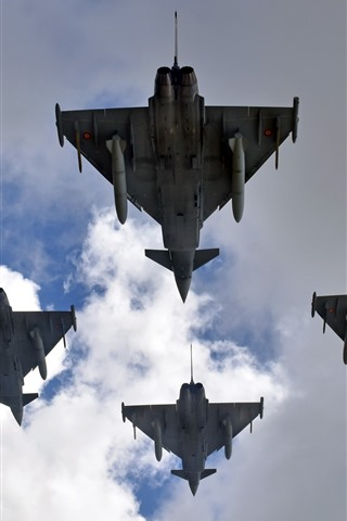 iPhone Wallpaper Eurofighter Typhoon, fighter, clouds, sky