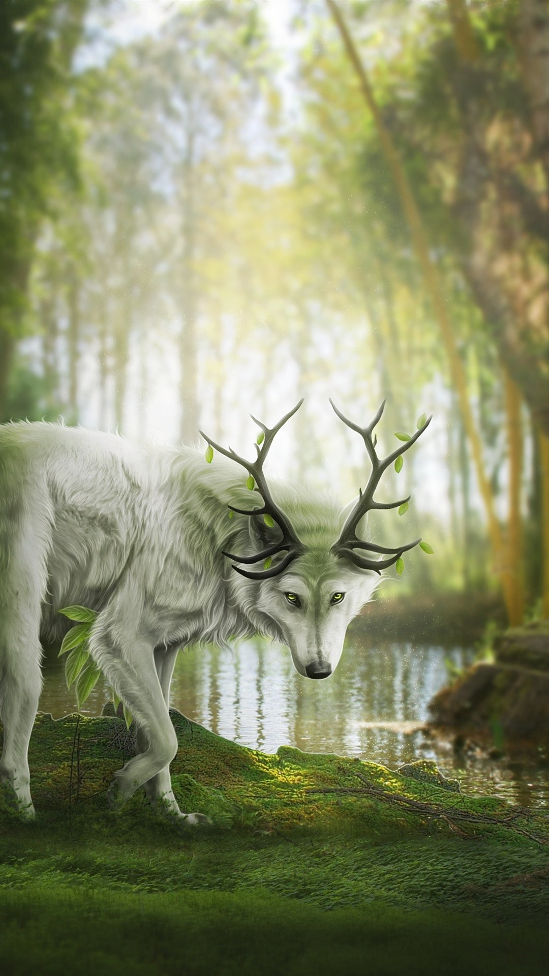 Wallpaper Fantasy Animal Wolf Or Deer Forest 2880x1800 Hd