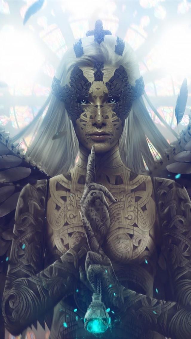Fantasy Girl Angel Wings White Hair 640x1136 Iphone 5 5s