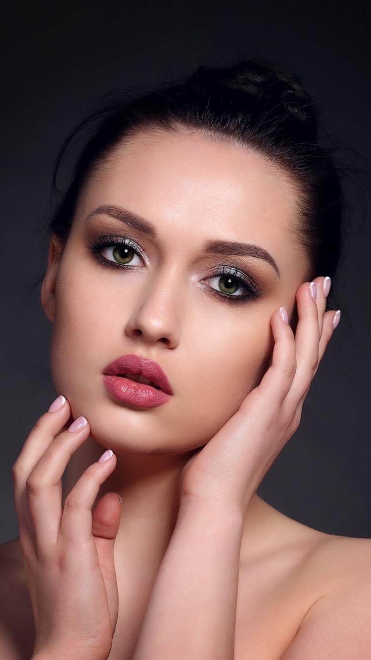 fashion girl, green eyes, black hair, makeup 750x1334 iphone