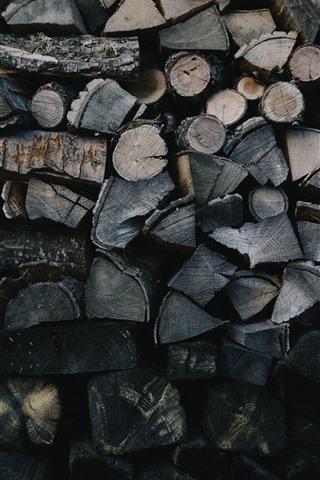 iPhone Wallpaper Firewood, wood wall