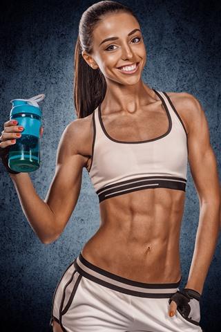 Wallpaper Fitness Girl Muscle Bottle 5120x2880 Uhd 5k