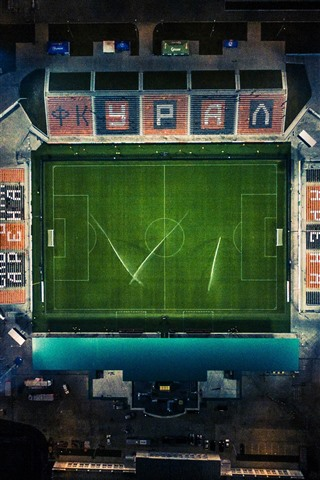 iPhone Wallpaper Football Stadium, top view, night