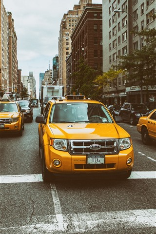 iPhone Wallpaper Ford Taxi, yellow cars, city, New York