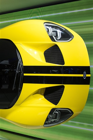 iPhone Wallpaper Ford yellow supercar, auto show