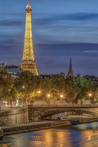 iPhone Wallpaper France, Paris, city night, Eiffel Tower, river, bridge, lights